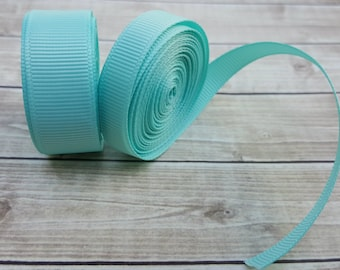 3/8 or 5/8 inch AQUA grosgrain ribbon