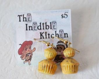 Miniature Food, Food Jewelry, Food Miniatures, Miniature Food Jewelry - Poppy Seed Muffin Earrings