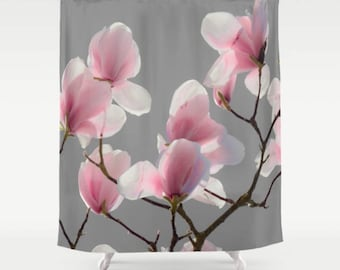Shower Curtain, Gray, Magnolia, Botanical, 71x74 inches, 71x94 inches, Extra Long, Exceptional Quality, fPOE