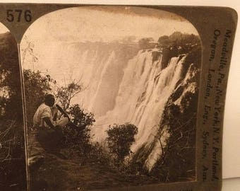 ON SALE Victoria Falls Africa Vintage Old Stereoview Stereo Card Early 1900's Keystone View Company