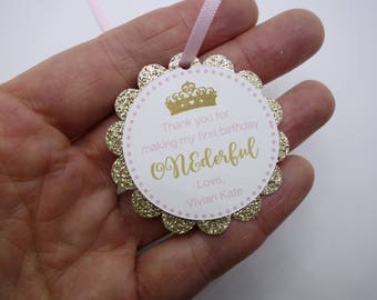 Personalized Pink and Gold Tiara Onederful Birthday Party Favor Tag, Princess, Vintage, Onderland, First Birthday, Label, Treat Bag