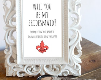5 x 7 Postcard Style Frame Insert | Fleur De Lis - Ask Bridesmaid, Will You Be My Bridesmaid - Bridal Cards - Maid of Honor Card