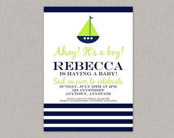 Nautical Baby Shower Invitation, Nautical Invitation, Printable