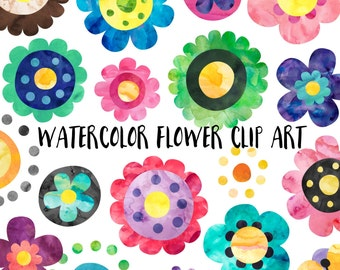 Funky Watercolor Flower Clip Art, Instant Download Commercial Use Flower Clipart
