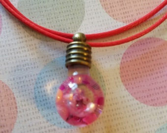 Pink and red love rice necklace