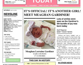 Baby Girl Newspaper Birth Announcement Keepsake Personalized Digital Download JPG and PDF Printable up to 11 x 14 for Framing