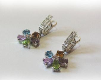 Sterling Silver 925 Earrings With.Gems Amethyst,Topaz,Citrine,Chrysolite,zircon