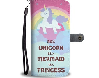Unicorn, Mermaid Phone Wallet Case, Phone Cases, Phone Case, Iphone Cases, Iphone Case, Samsung Case, Android Phone Case