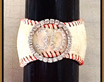 Customized Vintage Baseball Bracelet - Players Number w/ Circle Bling