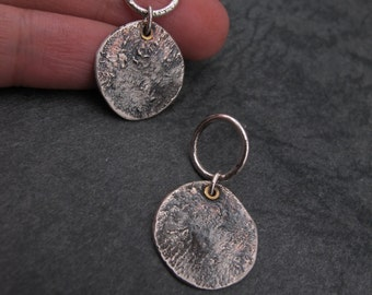 Reticulated and Oxidized Free Form Dangle Post Earrings- Raw Sterling silver and Brass- Industrial- Modern Design