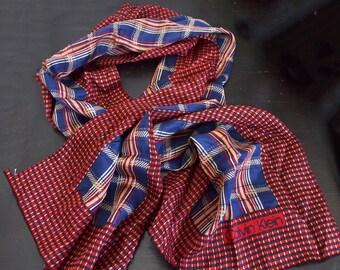 Vintage Calvin Klein silk scarf rectangular fringed CK