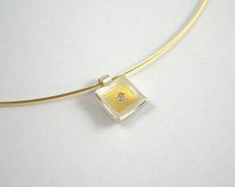 Minimal gold and silver charm with a diamond,  Two tone charm, Geometric charm, Minimal necklace, Gift for her,Small diamond necklace