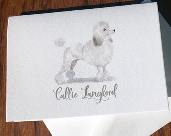 Poodle Personalized Stationery, great gift for dog lovers, Poodle stationery set 100% Cotton Savoy, custom gifts for dog lovers