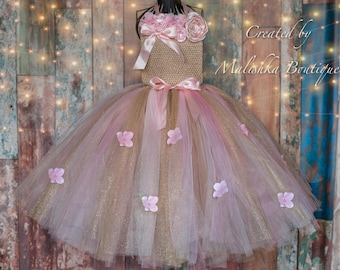 Flower Girl Tutu Dress, Long Beige Light Pink Flowers Glitter tulle skirt top, Beauty Pageant First Birthday Outfit Baby Toddler Girl Fabric