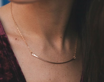 Curved Bar Necklace - Gold Bar Necklace - Layered Necklace - Minimalist Necklace - Dainty Necklace - Delicate Necklace - Choker Necklace