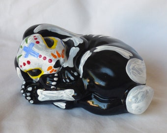 Hand Painted Day of the Dead Rabbit Statue-Sleeping rabbit statue-Dia De Los Muertos-Bunny statue-Recycled Art- Room Decor-Dorm Decorations