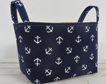 Storage and Organization  - White Anchors on Navy Blue Fabric - Organizer Bin Storage Container Basket - Nautical Beach - Baby Room Decor