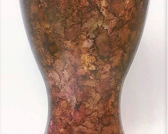 hand painted brown copper vase abstract design