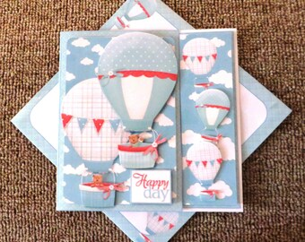 Up up and away asymmetric birthday card with matching insert and envelope.