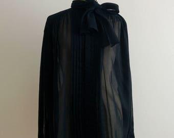 Jean Paul Gaultier cotton voile oversized bow blouse shirt