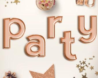 LET'S PARTY! Lower Case Copper Balloon Letters Clipart, Celebration Balloons Font, Copper Foil Balloons Alphabet, Party Letters, BUY5FOR8