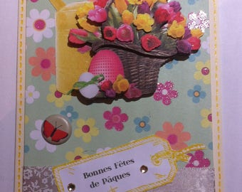 Card 3D, Easter Bouquet of flowers, watering cans and eggs
