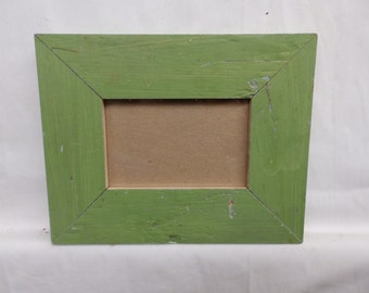 SHABBY ARCHITECTURAL Chic Salvaged 4 X 6 Wood Green Picture Frame Vintage 2455-15