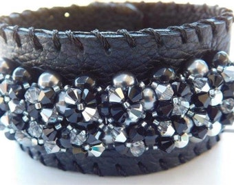 Black Leather cuff bracelet, Swarovski Crystal, Swarovski Pearls,