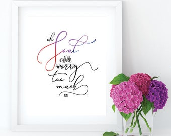 Oh Soul you worry too much RUMI print Printable Watercolour