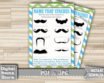 Printable Baby Shower Staches Name - Name That Staches Game Chevron Green Blue - Name That Mustaches Baby Shower - Instant Download - m2