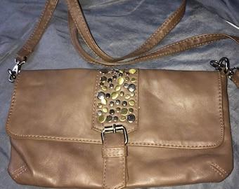 Galeries Lafayette cream rhinestone clutch bag great condition