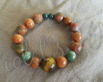 Handmade beaded bracelet with gemstones for leo zodiac sign *tiger eye *jasper *avanurine