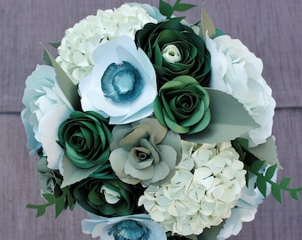 Paper Bridal or Bridesmaid Bouquet - Monochrome Greens or Choose from 80 Colors - Hydrangea, Anemone, Ranunculus, Roses, Greenery