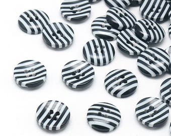 set of 20 black and white buttons 12.5 mm 4 hole sewing scrapbooking