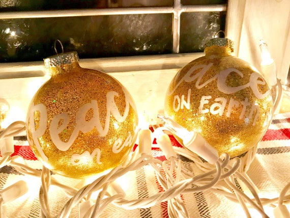 """Handlettered """"Peace On Earth"""" Christmas Tree Ornaments"""