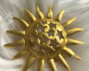 Vintage Gold Sun with Stars brooch celestial pin jewelry