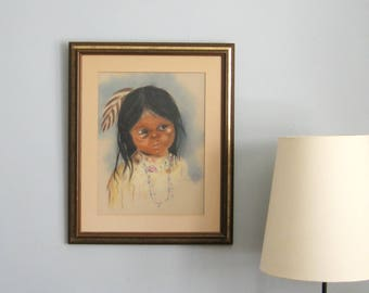 Pastel Drawing - Native American Girl with Feather - 18x22 Vintage Framed Art - 1970s Fine Art Portrait - Indigenous Art - Native Wall Decor