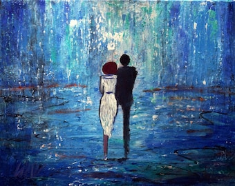 Abstract Blue Painting Romance Couple Ready to Ship Modern Painting BLUE LIGHTS