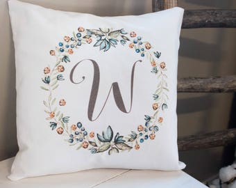 Rustic wreath Monogram pillow on soft white twill - beautiful wedding, or housewarming gift