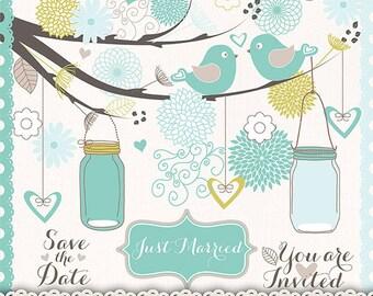 Wedding birds clipart flower, flower clipart, bridal clipart, Clip art for scrapbooking, wedding invitation, Hand Drawn Mason Jars, Blue