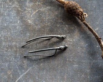 oxidized sterling silver earclimber, plant earrings silver