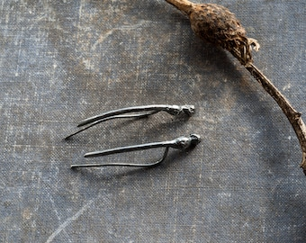 oxidized sterling silver earclimber, plant earrings silver