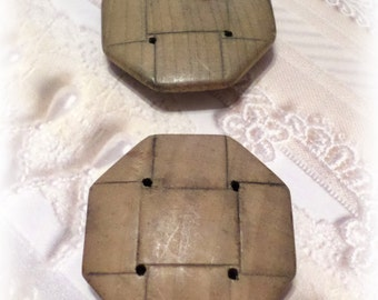 2 BIG Brown Wood-Look Buttons Vintage Buttons