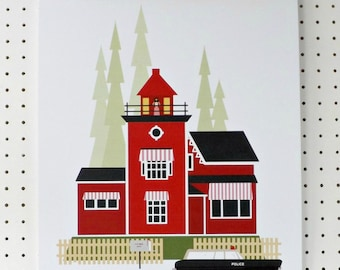SALE Moonrise Kingdom Inspired Print Summers End A3 Poster Minimalist Red Black Olive White Fan Art
