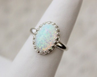 Opal Sterling Silver Crown Edge Ring, Synthetic Opal, Lab created opal