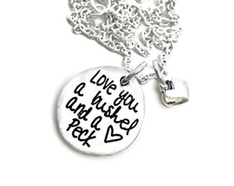 I Love You A Bushel And A Peck And A Huge Around The Neck - Gift For Her - Heart Necklace - Pewter Silver Necklace - Engraved Jewelry