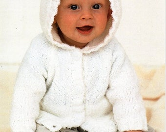 """baby knitting pattern pdf baby hooded jacket with ears baby cardigan with hood 16-26"""" DK light worsted 8ply pdf instant download"""