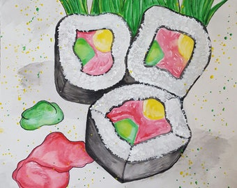 Watercolor Painting: Sushi Bites