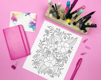 Floral Coloring Page: A digital coloring page for adults with flowers and leaves. Simple design perfect for a beginner. Instant Download