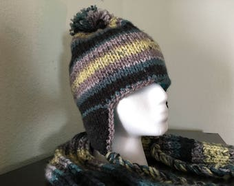 Ear flap ski hat & matching scarf